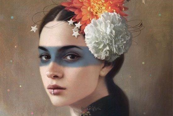 औरत के सिर पर फूल