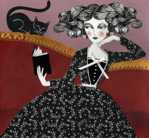 औरत-साथ में काली-बिल्ली