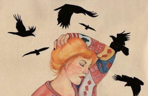 3-पक्षियों के साथ-में स्त्री