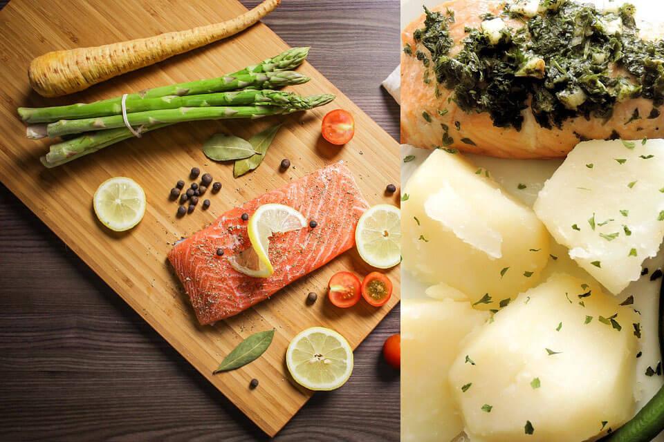 आलू और सब्जियों वाली बेक्ड सामन फिश रेसिपी